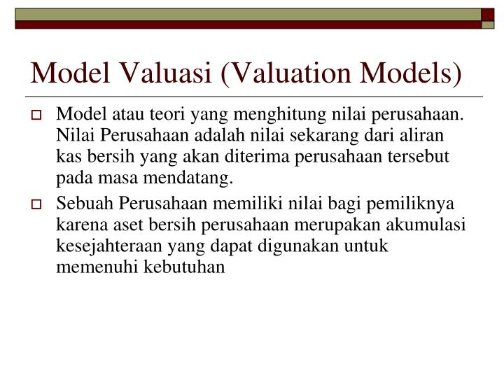Model Valuasi (Valuation Models)