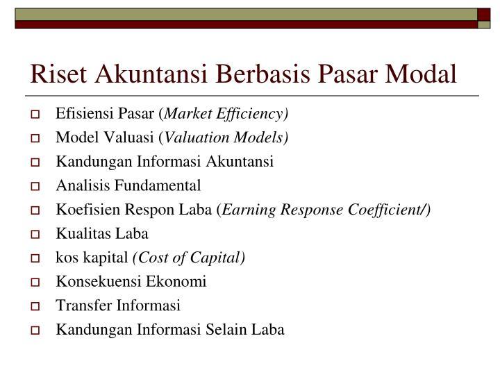 Riset Akuntansi Berbasis Pasar Modal