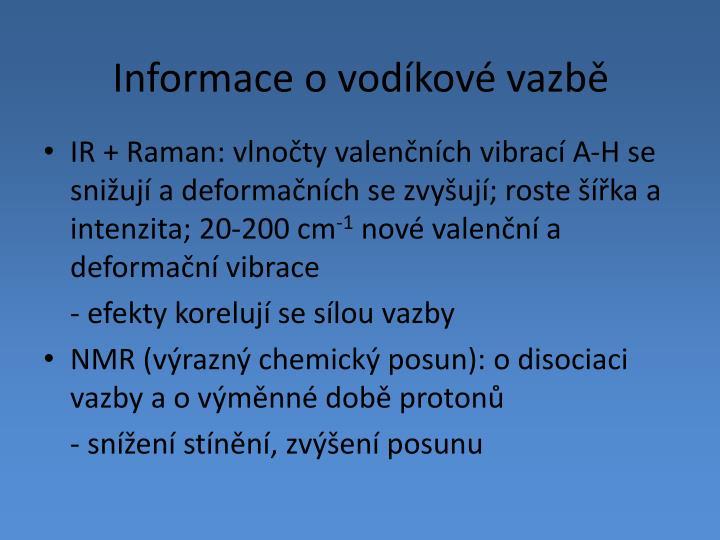 Informace o vodíkové vazbě