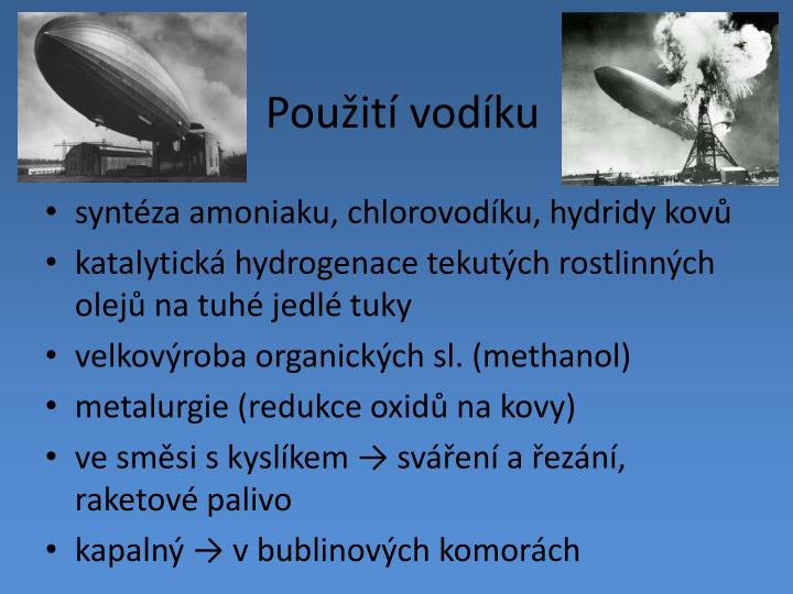 Použití vodíku