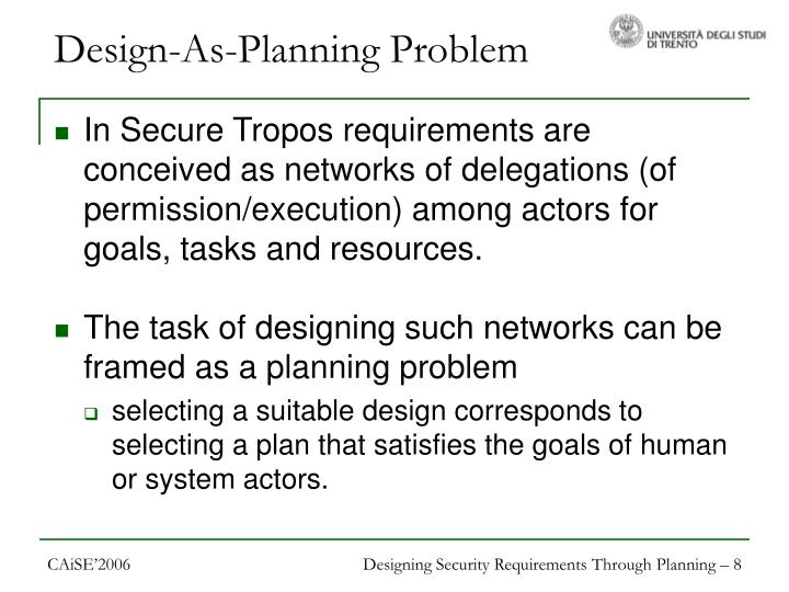 Design-As-Planning Problem