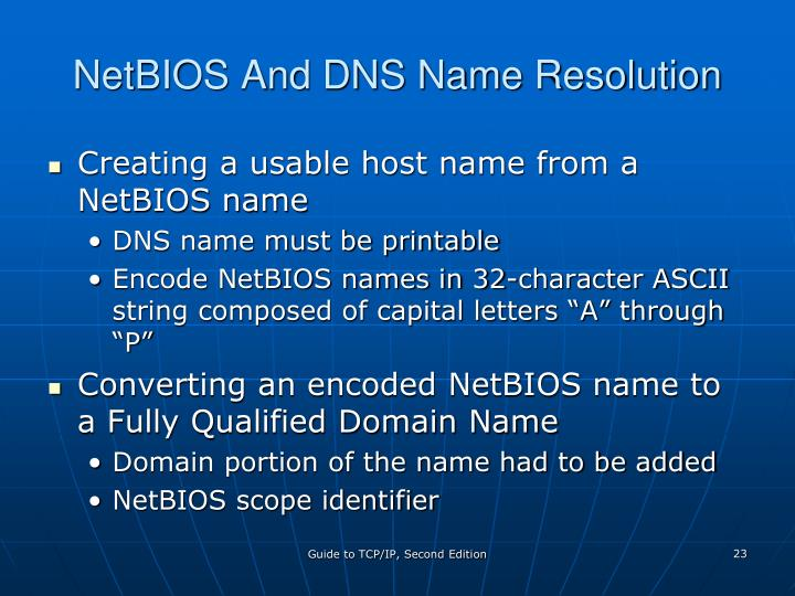 NetBIOS And DNS Name Resolution