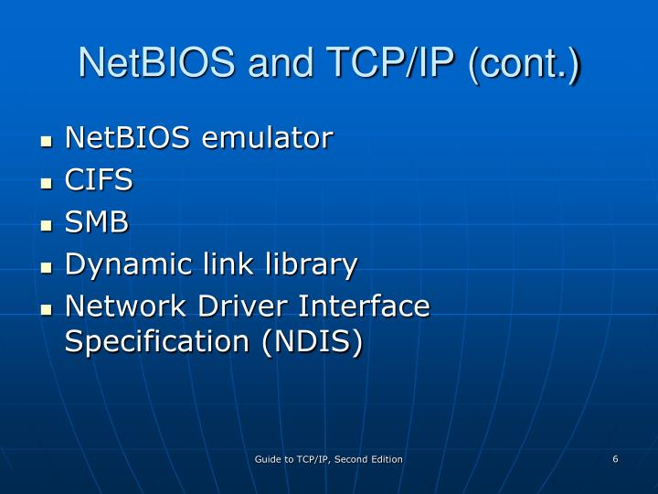 NetBIOS and TCP/IP (cont.)