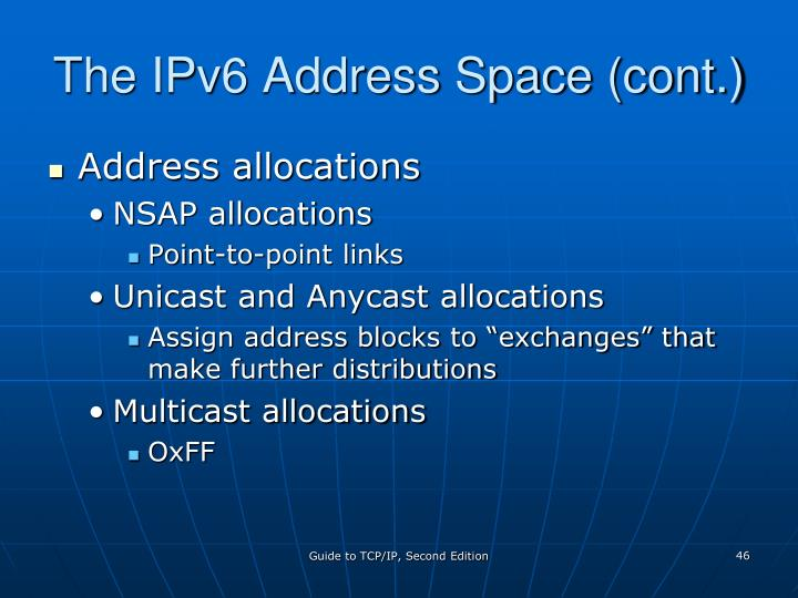 The IPv6 Address Space (cont.)