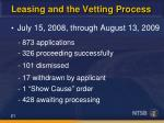 leasing and the vetting process