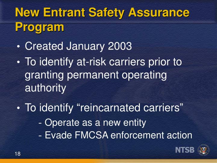 New Entrant Safety Assurance Program