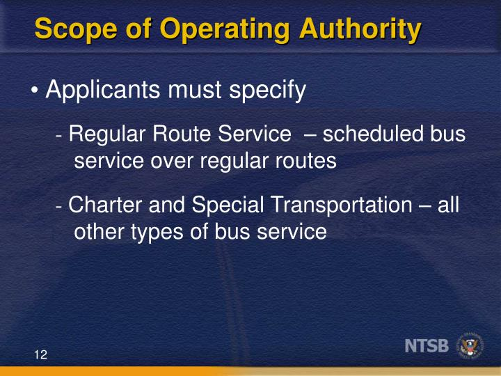 Scope of Operating Authority