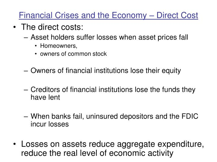 Financial Crises and the Economy – Direct Cost