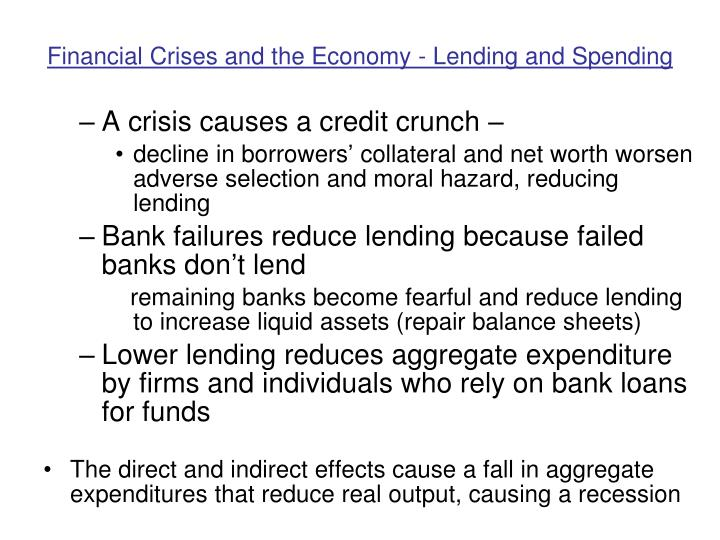 Financial Crises and the Economy - Lending and Spending