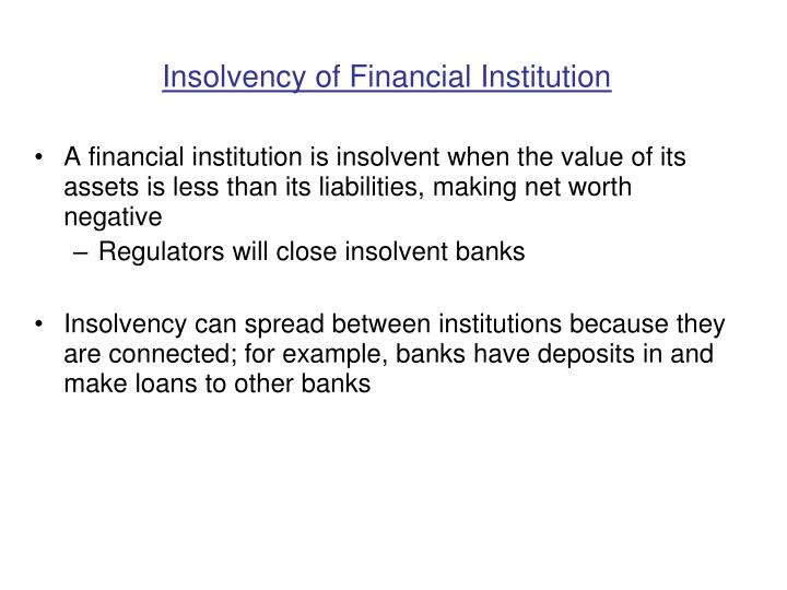 Insolvency of financial institution