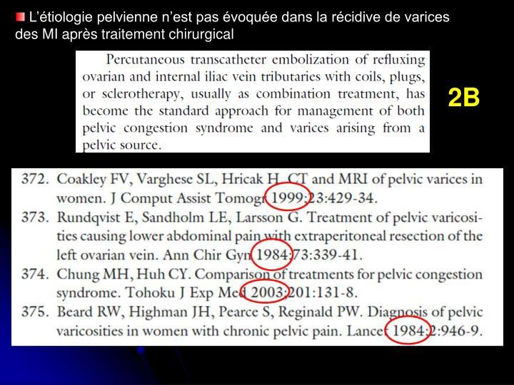 L'étiologie pelvienne n'est pas évoquée dans la récidive de varices des MI après traitement chirurgical