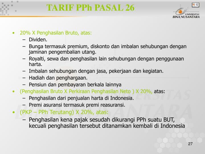 TARIF PPh PASAL 26