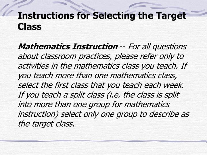 Instructions for Selecting the Target Class