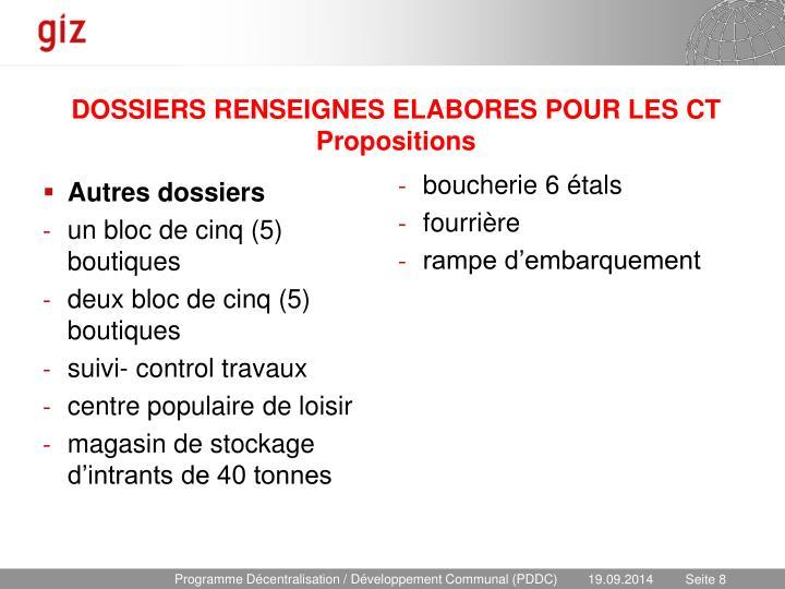 DOSSIERS RENSEIGNES ELABORES POUR LES CT