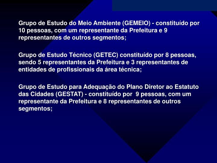 Grupo de Estudo do Meio Ambiente (GEMEIO) - constituído por 10 pessoas, com um representante da Prefeitura e 9 representantes de outros segmentos;
