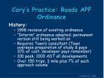 cary s practice roads apf ordinance