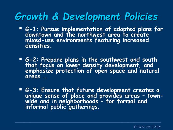 Growth & Development Policies