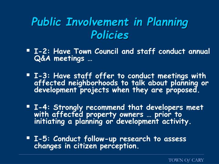 Public Involvement in Planning Policies