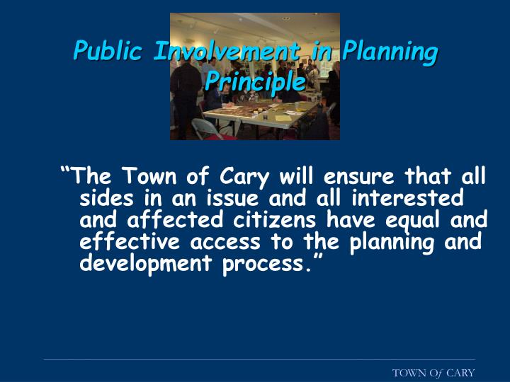 Public Involvement in Planning Principle