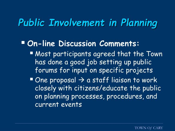 Public Involvement in Planning