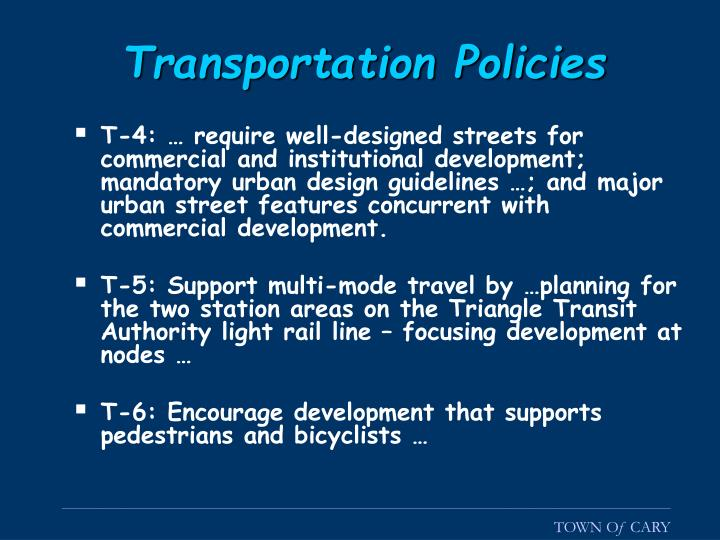 Transportation Policies