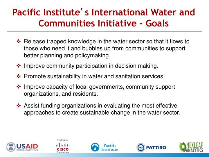 Pacific institute s international water and communities initiative goals
