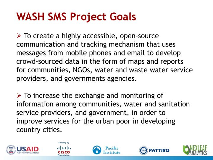 WASH SMS Project Goals
