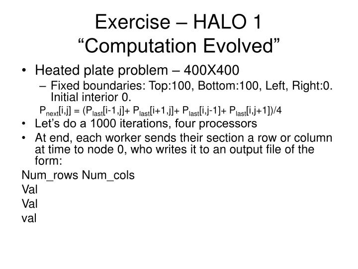 Exercise – HALO 1