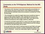 comments on the ti philippines method for the nis study