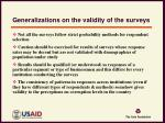 generalizations on the validity of the surveys1