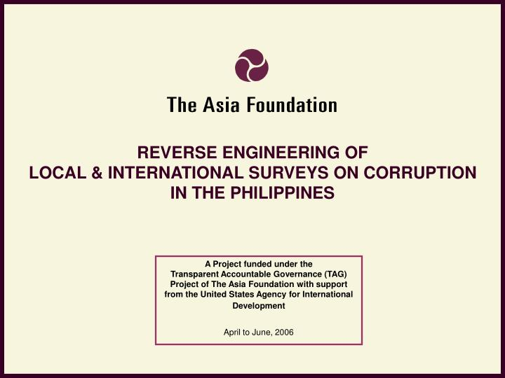 reverse engineering of local international surveys on corruption in the philippines