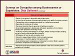 surveys on corruption among businessmen or expatriates data gathered continued
