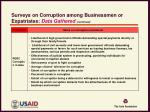 surveys on corruption among businessmen or expatriates data gathered continued1