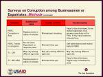 surveys on corruption among businessmen or expatriates methods continued