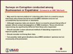 surveys on corruption conducted among businessmen or expatriates comments on mbc methods