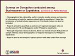 surveys on corruption conducted among businessmen or expatriates comments on perc methods