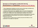 surveys on corruption conducted among businessmen or expatriates comments on ti phil methods