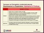 surveys on corruption conducted among businessmen or expatriates highlights of findings