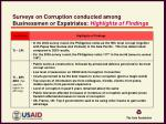 surveys on corruption conducted among businessmen or expatriates highlights of findings2