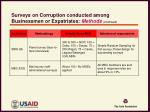surveys on corruption conducted among businessmen or expatriates methods continued