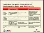 surveys on corruption conducted among businessmen or expatriates methods continued1