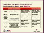 surveys on corruption conducted among businessmen or expatriates methods