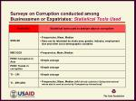 surveys on corruption conducted among businessmen or expatriates statistical tools used