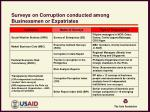 surveys on corruption conducted among businessmen or expatriates