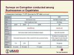 surveys on corruption conducted among businessmen or expatriates4
