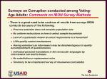 surveys on corruption conducted among voting age adults comments on ibon survey methods