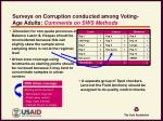 surveys on corruption conducted among voting age adults comments on sws methods