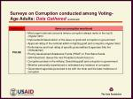 surveys on corruption conducted among voting age adults data gathered continued