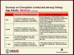 surveys on corruption conducted among voting age adults methods continued