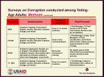 surveys on corruption conducted among voting age adults methods continued3
